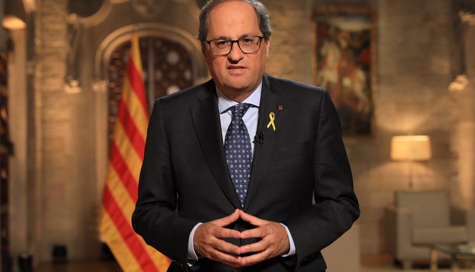 El president de la Generalitat, Quim Torra, pronuncia el discurs institucional de la Diada de Catalunya.