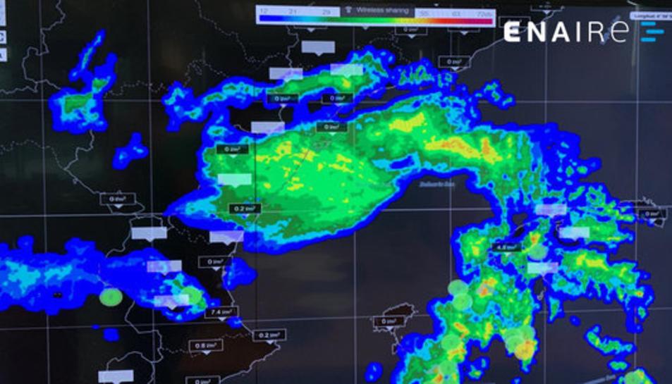 Captura d'imatge de les tempestes que afecten l'arc mediterrani, el 13 de setembre del 2019.