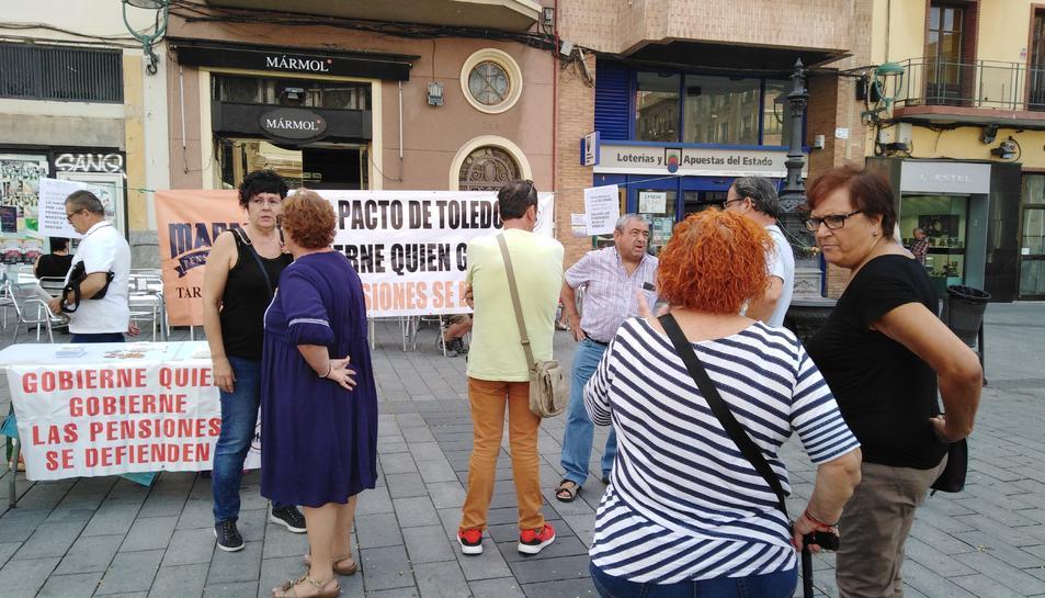 Punt d'informació de la Marea, ahir al matí a Corsini.