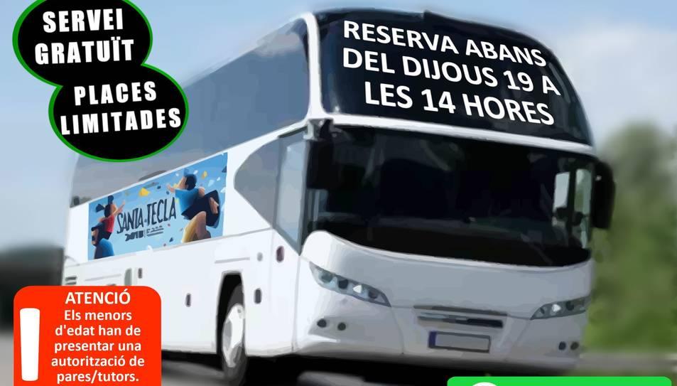 Imatge promocional del servei de bus de Constantí especial per Santa Tecla.