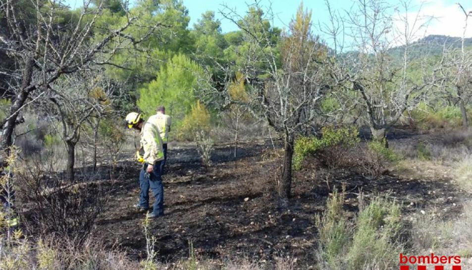 Un bomber treballant a la zona del foc.