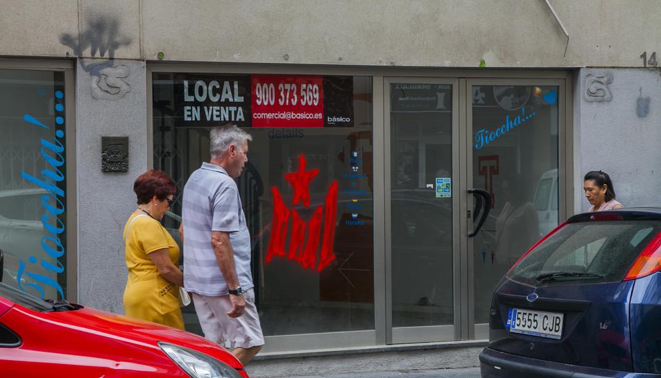 Un local buit en un carrer del centre de la ciutat, en una imatge del passat 9 de setembre.