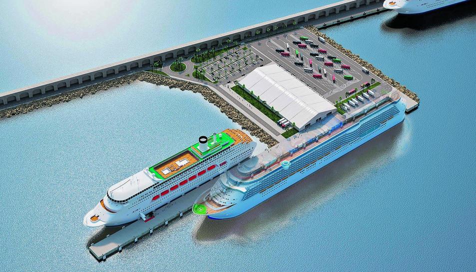 Imatge virtual del nou moll de Balears.