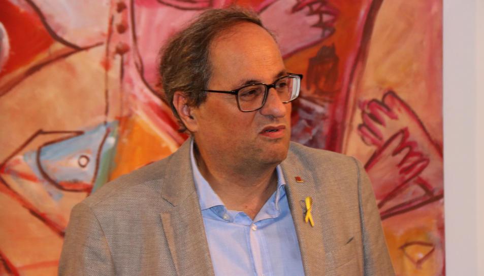 El president, Quim Torra, aquest dissabte 21 de setembre de 2019 a Santa Coloma de Farners.
