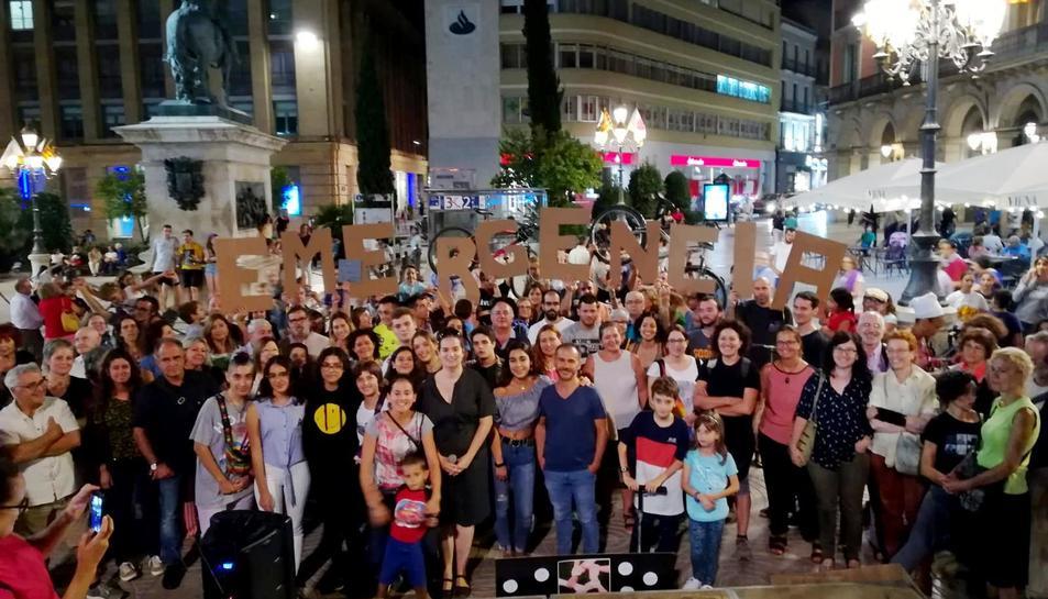 Imatge de la concentració a la plaça Prim.