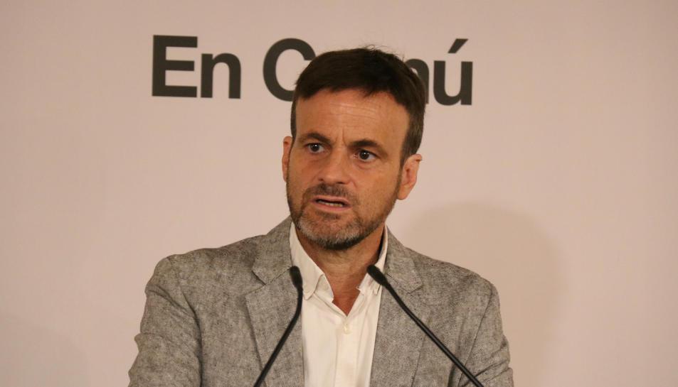 El líder d'En Comú Podem, Jaume Asens, en una roda de premsa.