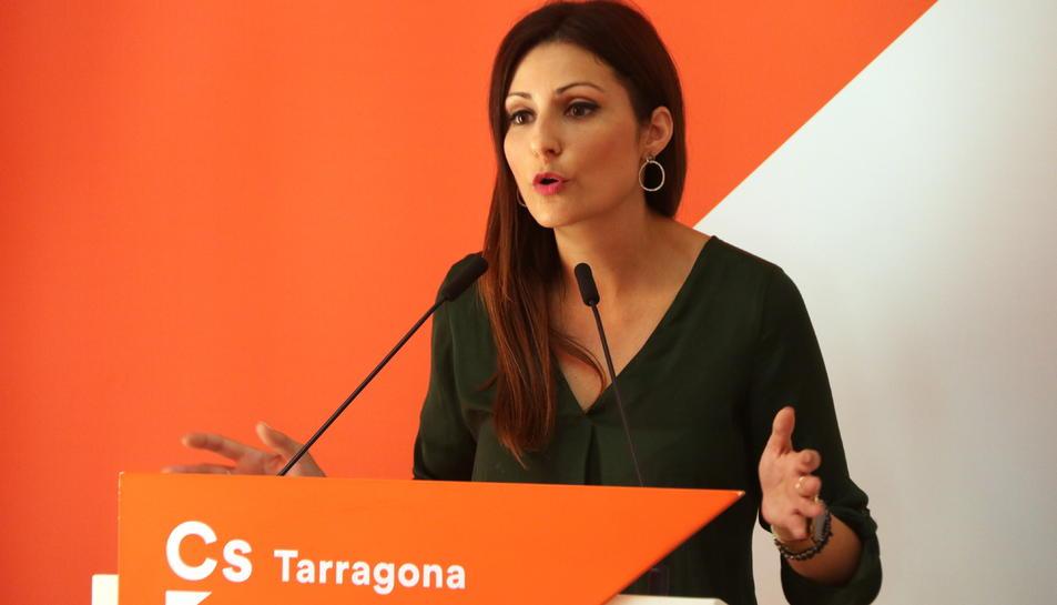 Primer pla de la líder de Cs a Catalunya, Lorena Roldán, en roda de premsa des de Tarragona, el 24 de setembre del 2019