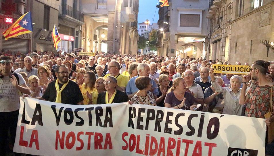 Imatge de la manifestació que es va fer a Lleida en protesta per les detencions.