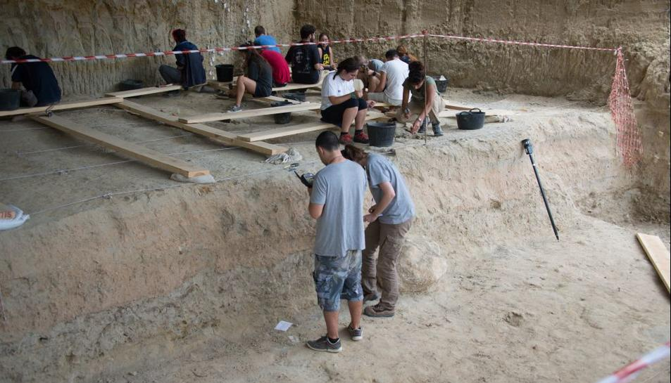 Pla general de diversos arqueòlegs durant la dotzena campanya d'excavacions a la Mina, al Barranc de la Boella, el setembre del 2019