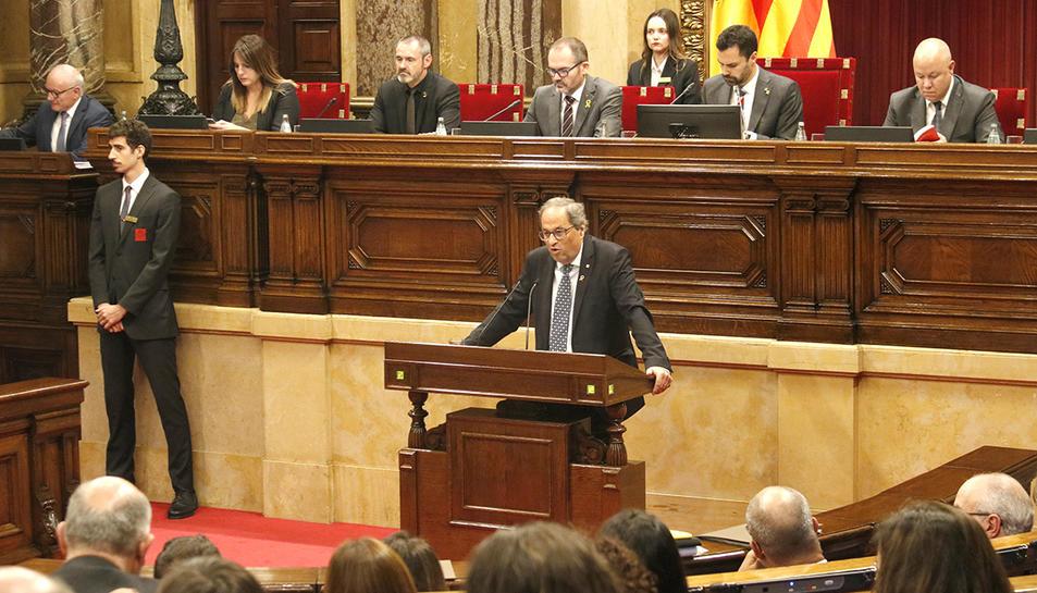 El president de la Generalitat, Quim Torra, durant el debat de política general del Parlament del 25 de setembre de 2019