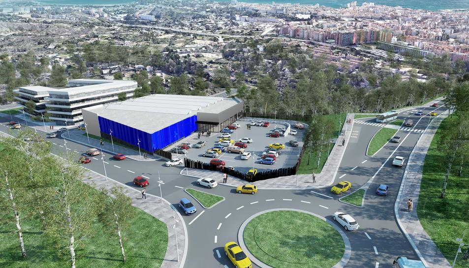 La nova rotonda que es construirà a la carretera de Santes Creus i, a l'esquerra, la zona comercial i l'espai residencial.