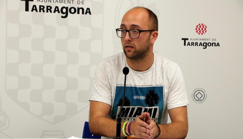 Pla obert del conseller de Patrimoni de l'Ajuntament de Tarragona, Hermán Pinedo, en roda de premsa el 27 de setembre del 2019