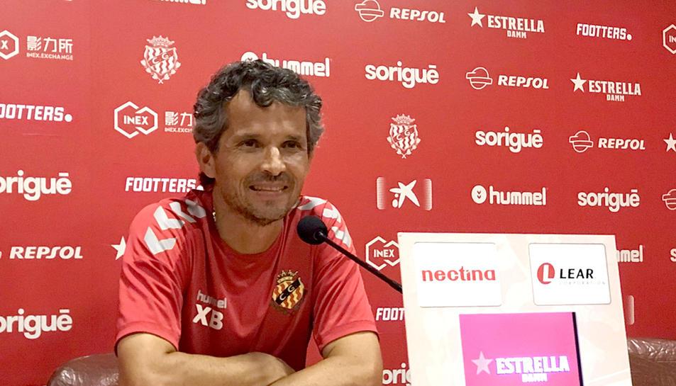 El tècnic grana, Xavi Bartolo, durant la roda de premsa d'aquest divendres.