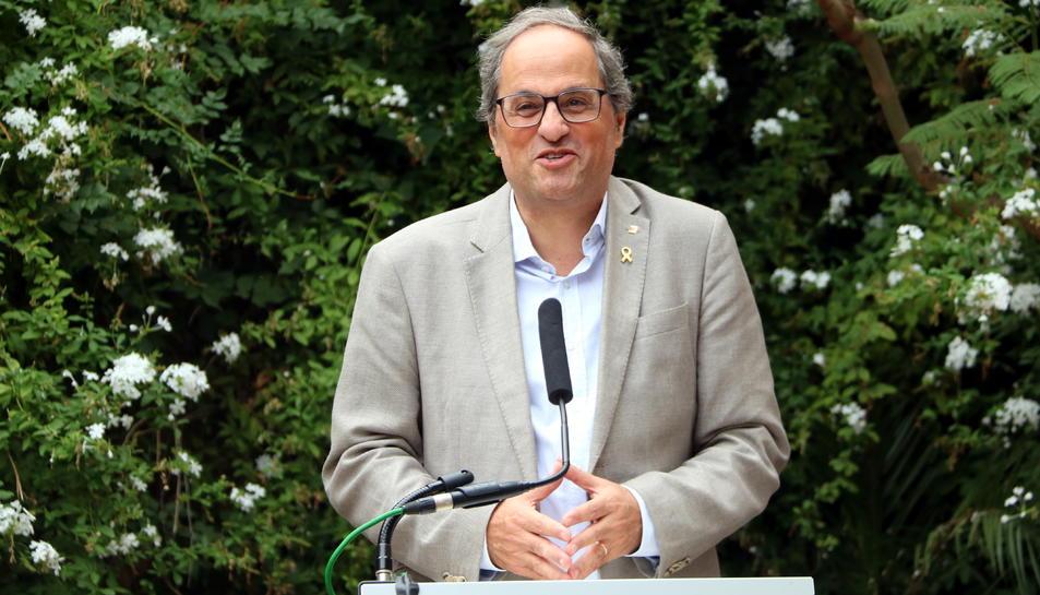 Pla mitjà del president de la Generalitat, Quim Torra;durant la seva intervenció en la inauguració de l'exposició 'Galerie Mirador. París 1948-1955'. Imatge del 28 de setembre del 2019 (Horitzontal).