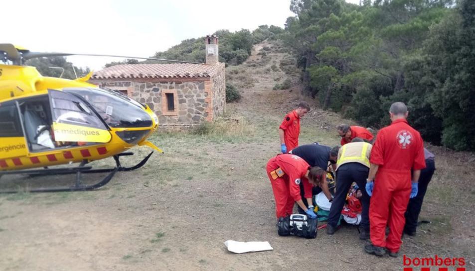 Imatge del rescat del ciclista.