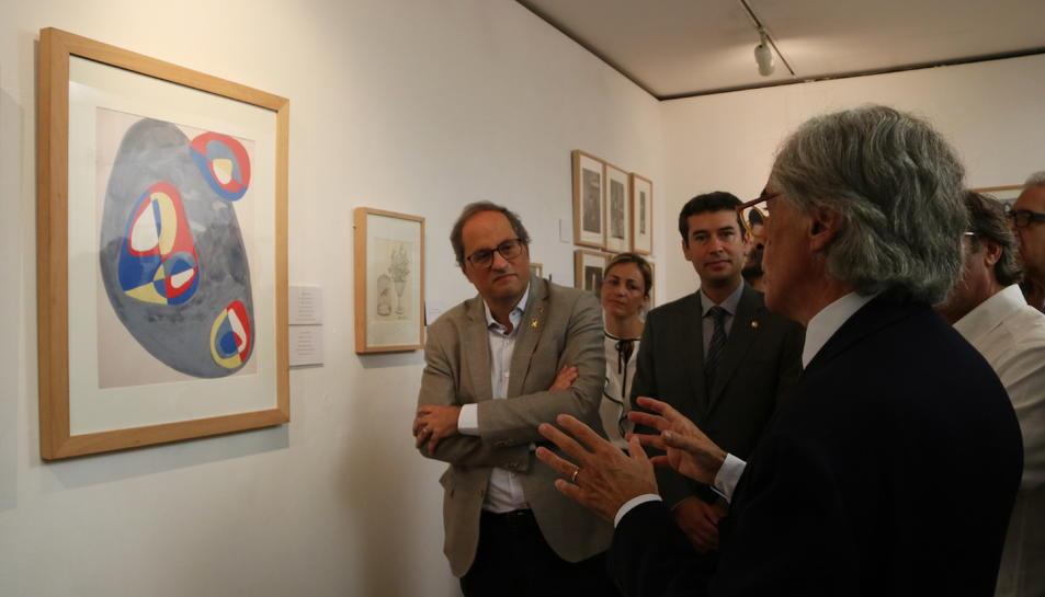 Pla obert del president de la Generalitat, Quim Torra, durant la inauguració de l'exposició.