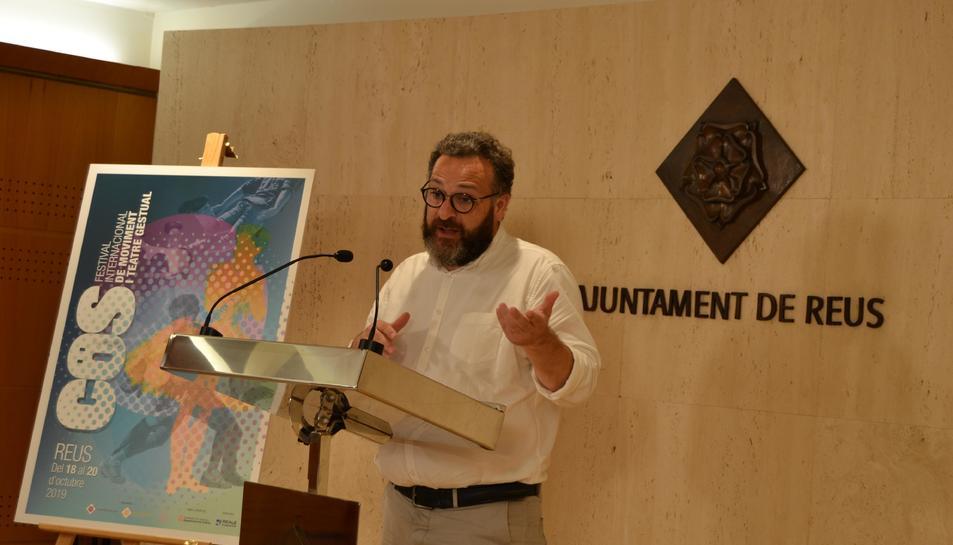Pla americà del regidor de Cultura, Educació i Política Lingüística de l'Ajuntament de Reus, Daniel Recasens, durant la presentació del Festival COS 2019. Imatge del 30 de setembre del 2019
