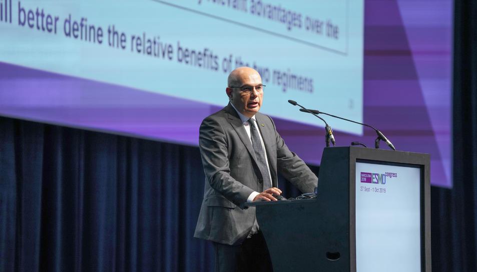 El doctor Josep Tabernero, director del Vall d'Hebron Institut d'Oncologia (VHIO), presentant els resultats.