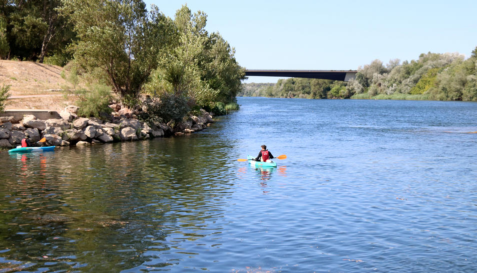 Pla general dels tècnics de Paleoymás amb piragua pel riu Ebre, a l'altura de Tortosa.