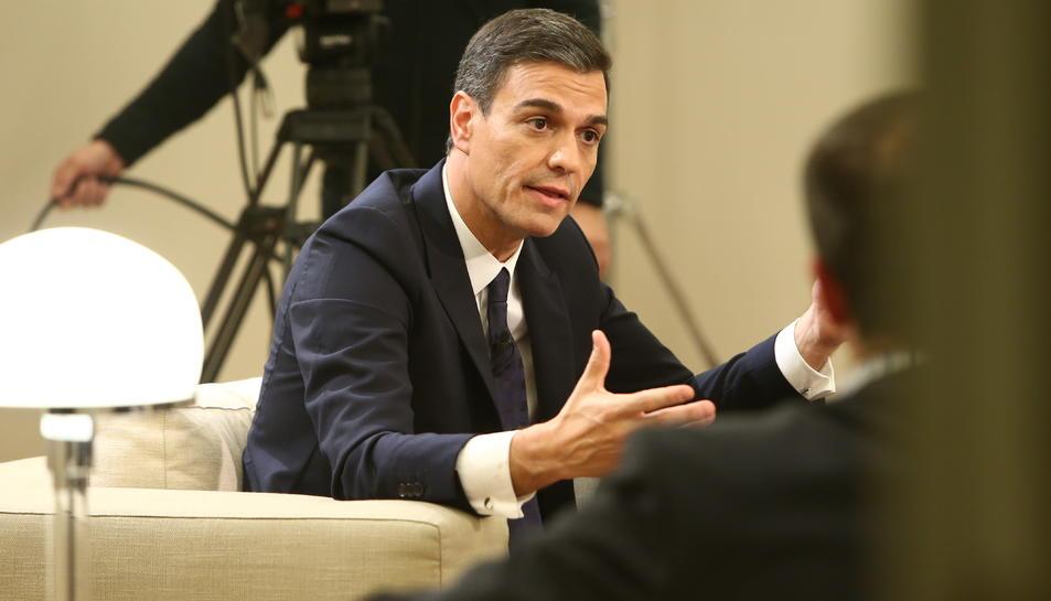 El president del govern espanyol, Pedro Sánchez, en una entrevista a La Moncloa.