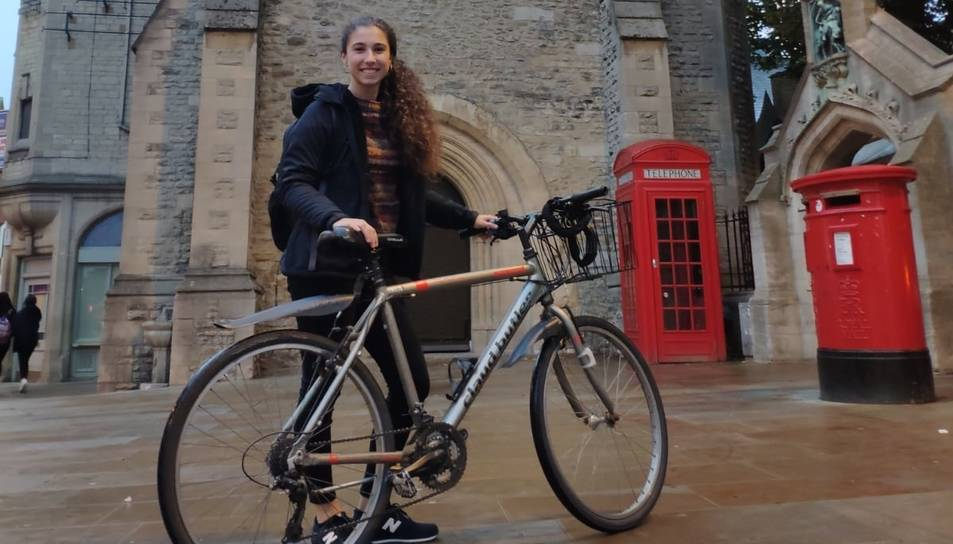 Sampietro, amb la seva bicicleta a Oxford.