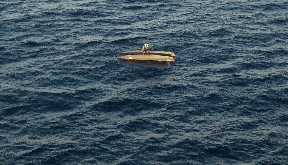 Imatge des de l'Helimer del tripulant a sobre del patinet.