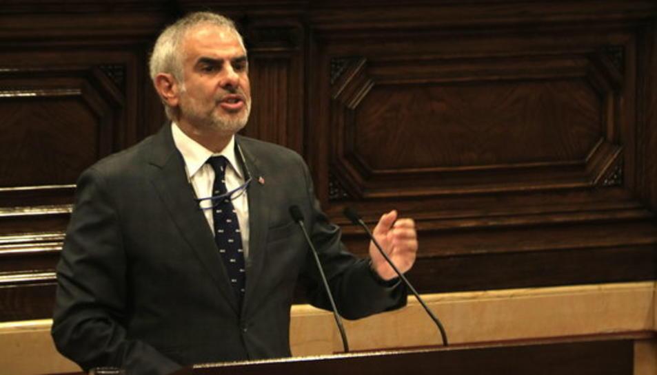 El president de Cs al Parlament, Carlos Carrizosa, parlant durant la moció de censura.