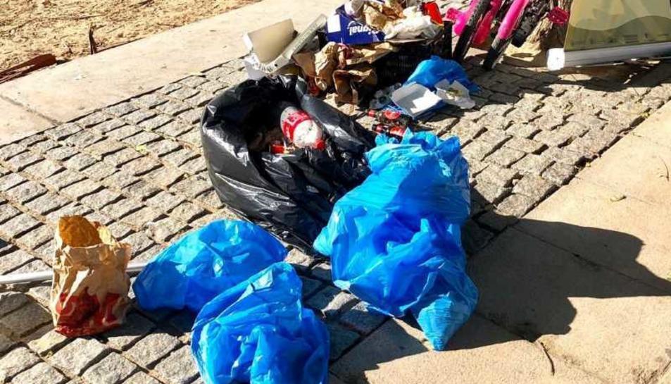 La majoria dels residus recollits van ser burilles, envasos de menjar ràpid i brides.