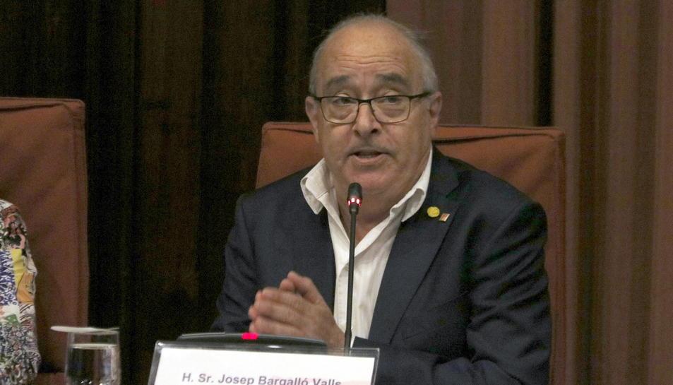 El conseller d'Educació, Josep Bargalló, durant la seva compareixença al Parlament.