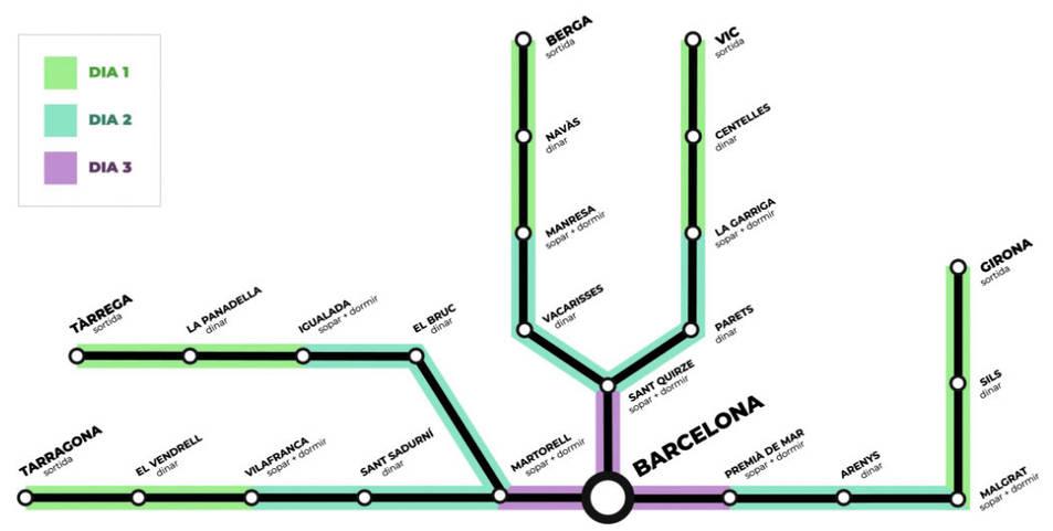 Els participants de Tarragona començaran el recorregut a les 7.30 hores per l'N-340 fins arribar a Vilafranca, on faran nit.