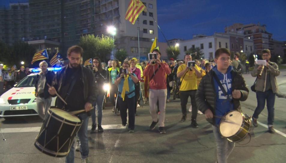 Pla mitjà dels grallers que han obert la Marxa per la Llibertat des de Tarragona.