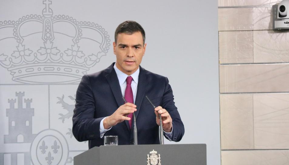 El president del govern en funcions, Pedro Sánchez, a La Moncloa.
