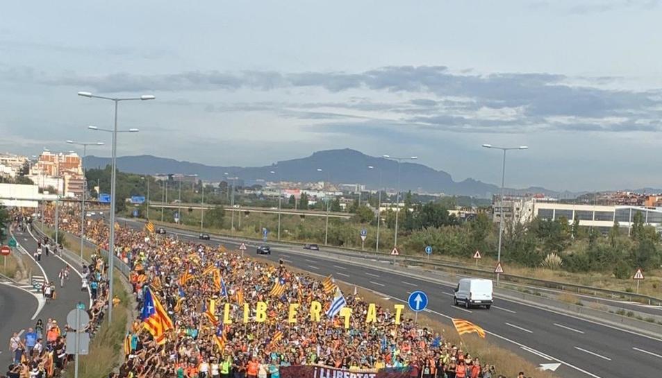 La Marxa per la Llibertat entrant a Barcelona.