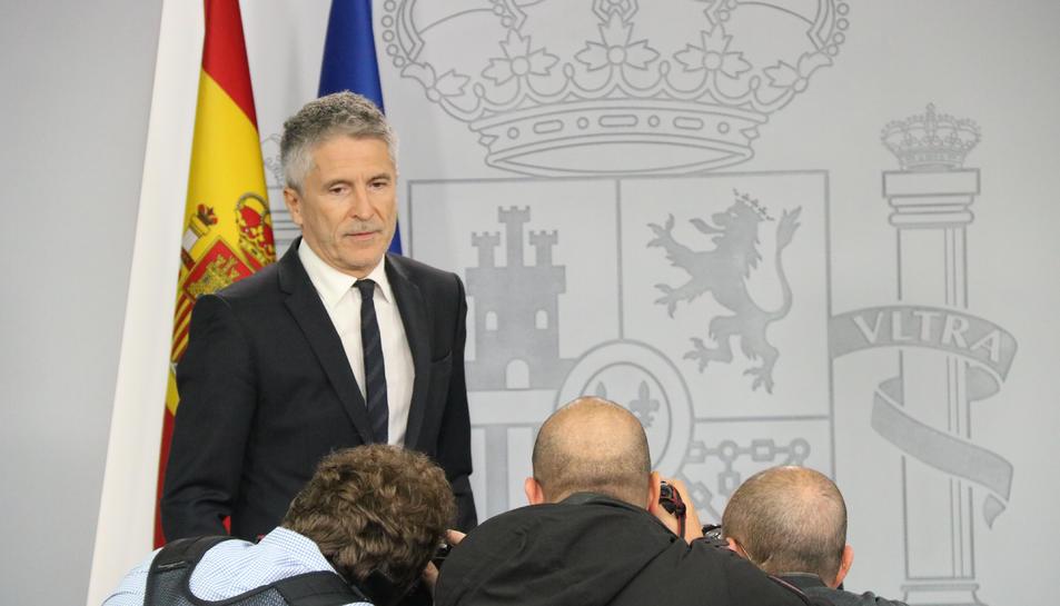 El ministre de l'Interior en funcions, Fernando Grande-Marlaska, compareix a La Moncloa.