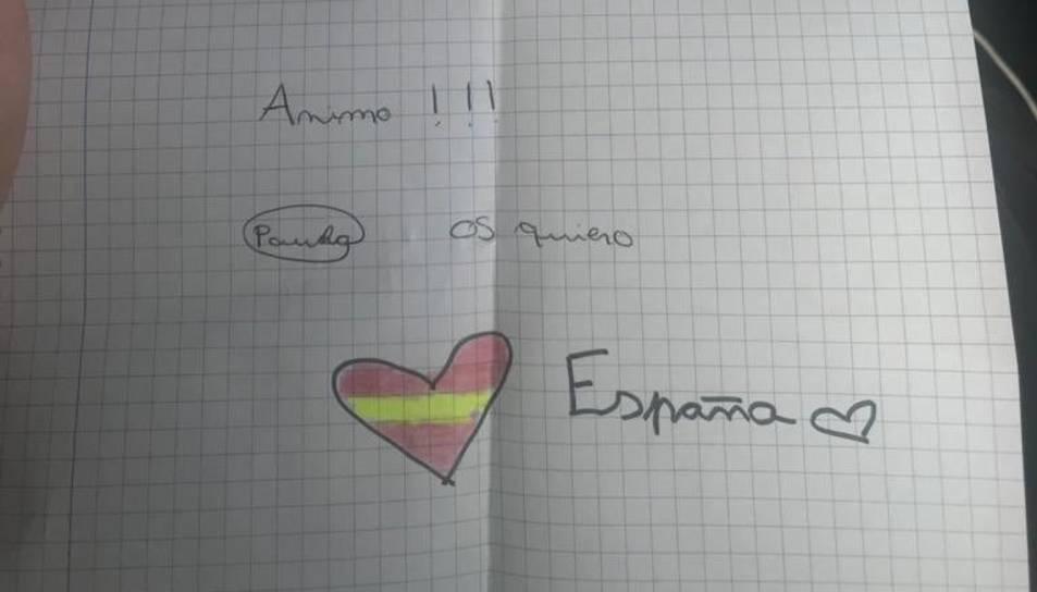 Imatge d ela carta rebuda pels agents d ela Guàrdia Civil.
