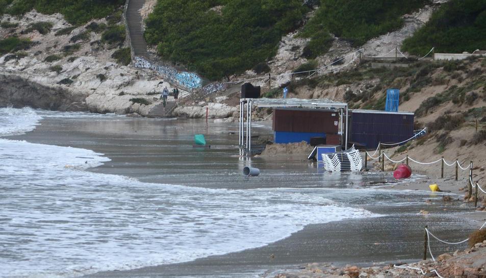 El chiringuito afectado por el temporal en Salou