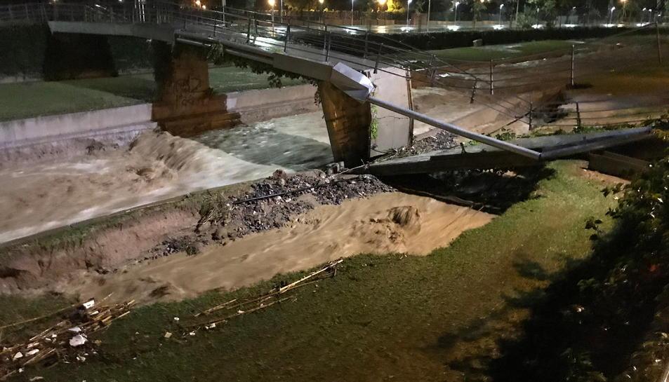 El pont d'Alforja, trencat per la pluja