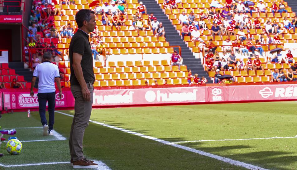 Xavi Bartolo, a l'àrea tècnica del Nou Estadi
