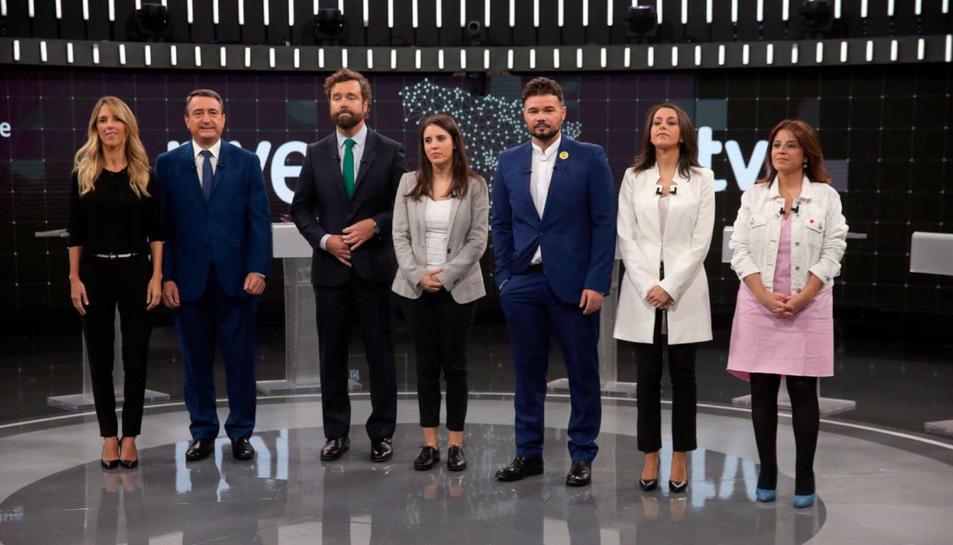 Lastra, Montero, Rufián, Espinosa de los Monteros, Álvarez de Toledo, Esteban i Arrimadas, al debat a 7 de TVE.