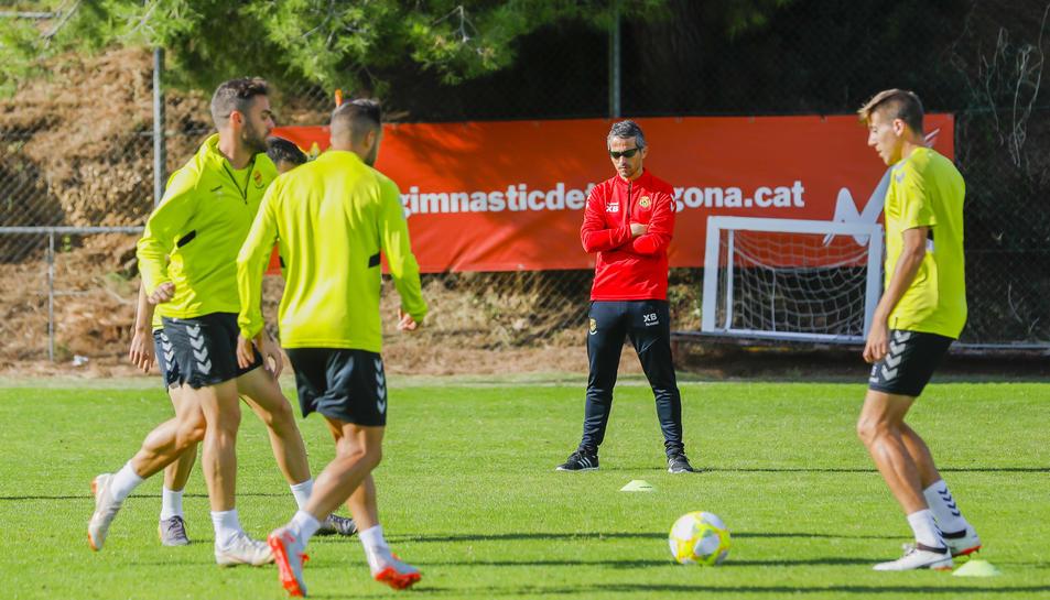Xavi Bartolo, durant l'entrenament de recuperació que ahir van fer els seus a l'annex del Nou Estadi.