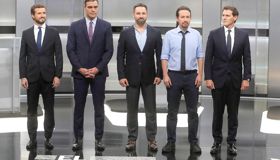 Els candidats a la presidència del Govern espanyol que van participar en el debat.