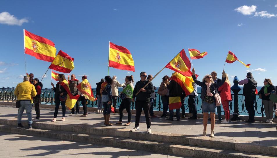 Els manifestants, amb banderes espanyoles.