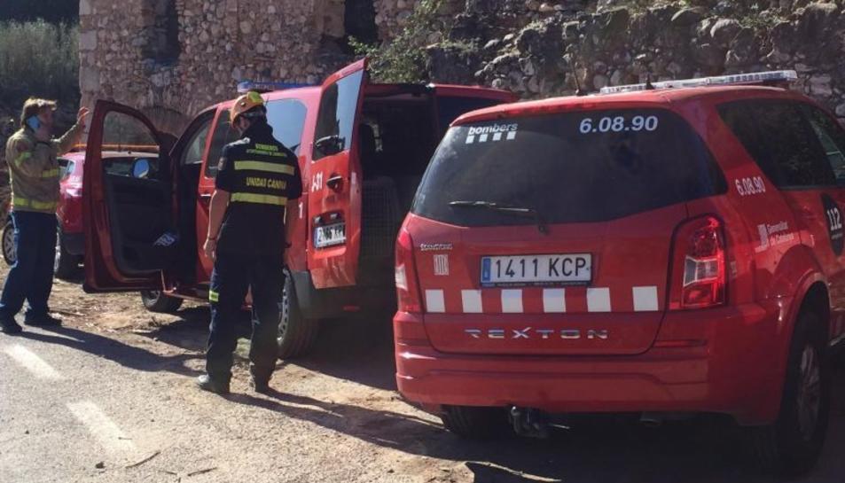 Els bombers de Saragossa desplaçats a Catalunya per les tasques de recerca.