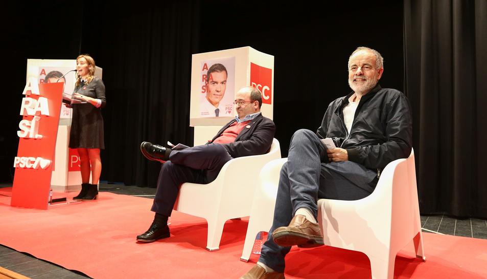 Sandra Guaita, Miquel Iceta i Joan Ruiz, ahir a la Sala Santa Llúcia de Reus.
