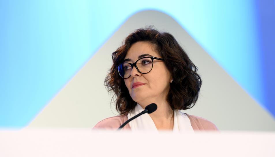 Primer pla de la subsecretària del ministeri de l'Interior, Isabel Goicoechea, al Centre de Difusió de Dades.
