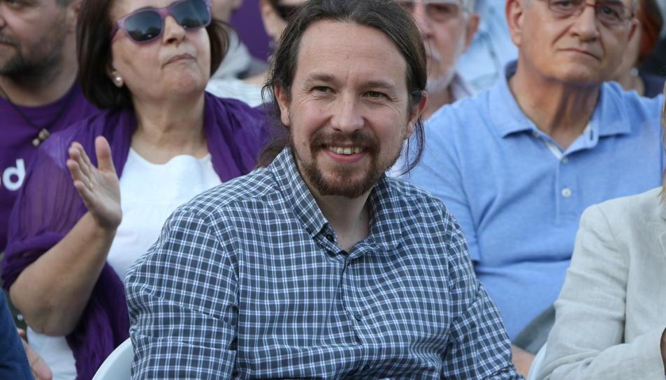Pla mitjà del líder de Podem, Pablo Iglesias, a un acte de la campanya de les europees a Madrid.