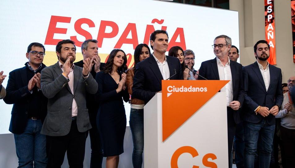 Pla general del líder de Cs, Albert Rivera, a la seu del partit a Madrid després de conèixer els resultats electorals.
