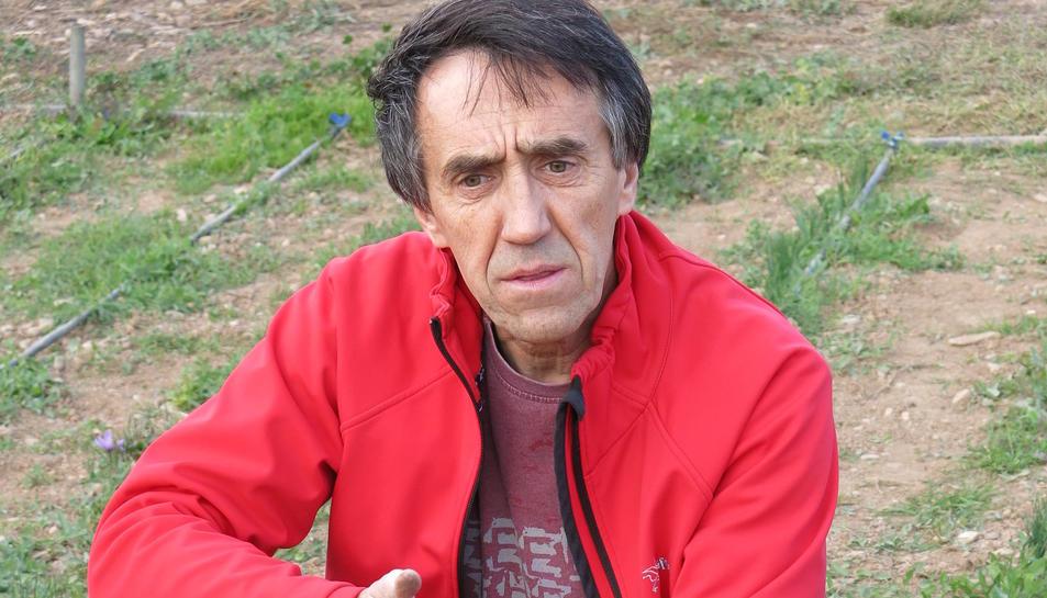 Joan Cartanyà amb un cistell de flors de safrà.