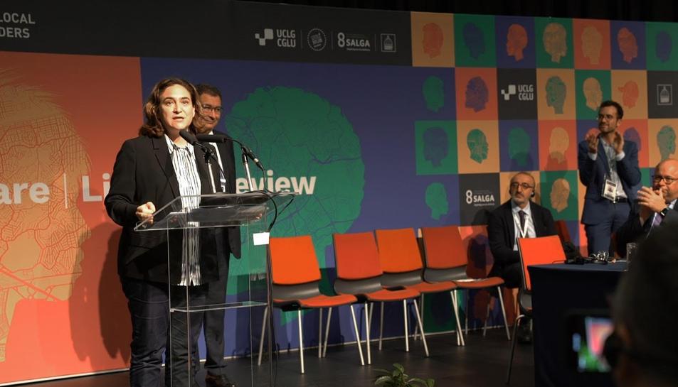 L'alcaldessa de Barcelona, Ada Colau, durant la intervenció al congrés mundial de CGLU, a Durban