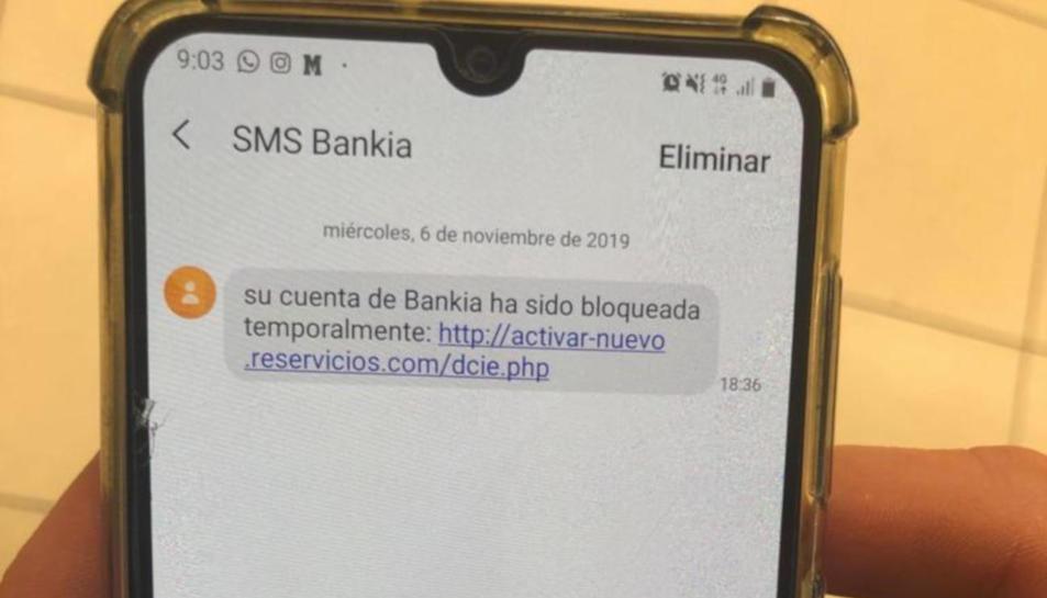 Imatge de l'SMS que es fa passar per Bankia